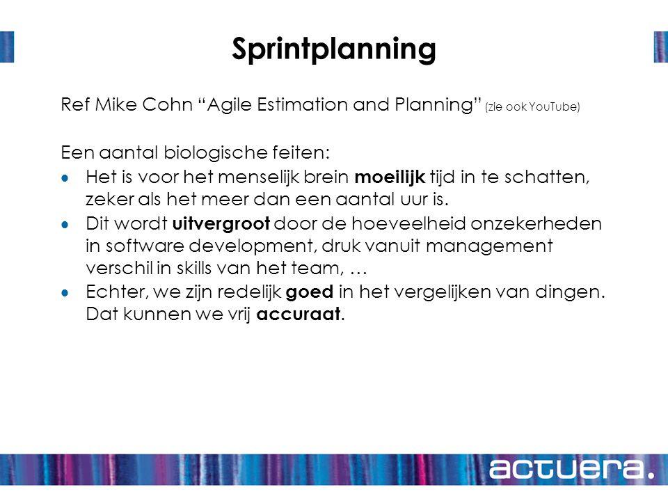 """Sprintplanning Ref Mike Cohn """"Agile Estimation and Planning"""" (zie ook YouTube) Een aantal biologische feiten:  Het is voor het menselijk brein moeili"""