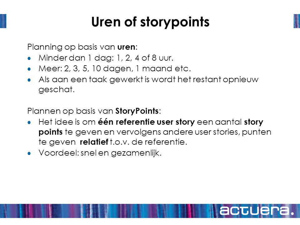 Uren of storypoints Planning op basis van uren :  Minder dan 1 dag: 1, 2, 4 of 8 uur.  Meer: 2, 3, 5, 10 dagen, 1 maand etc.  Als aan een taak gewe