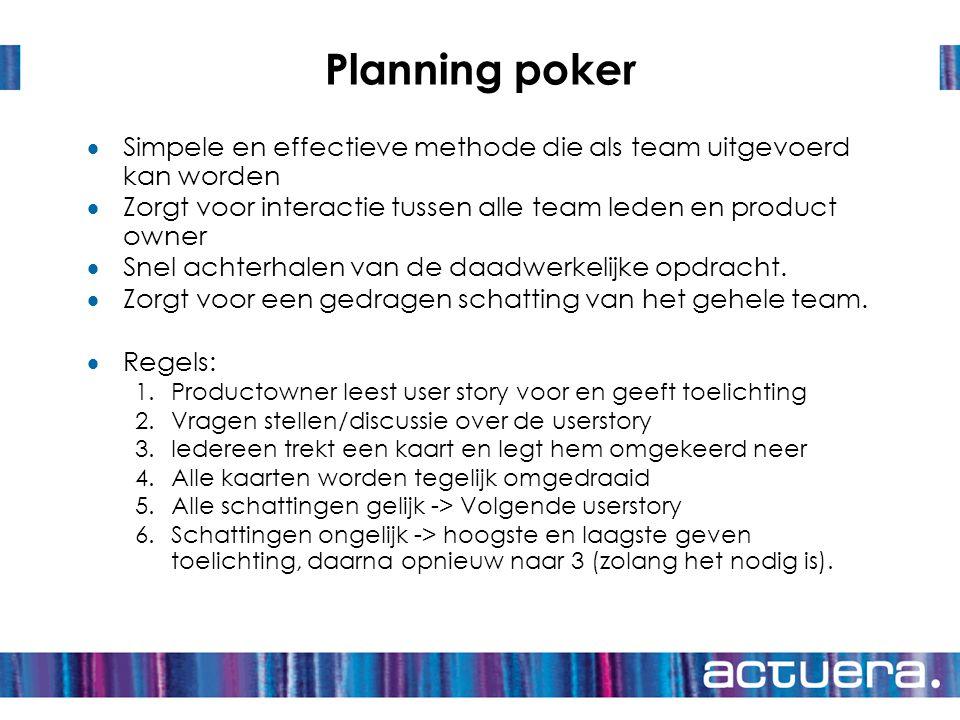 Planning poker  Simpele en effectieve methode die als team uitgevoerd kan worden  Zorgt voor interactie tussen alle team leden en product owner  Sn