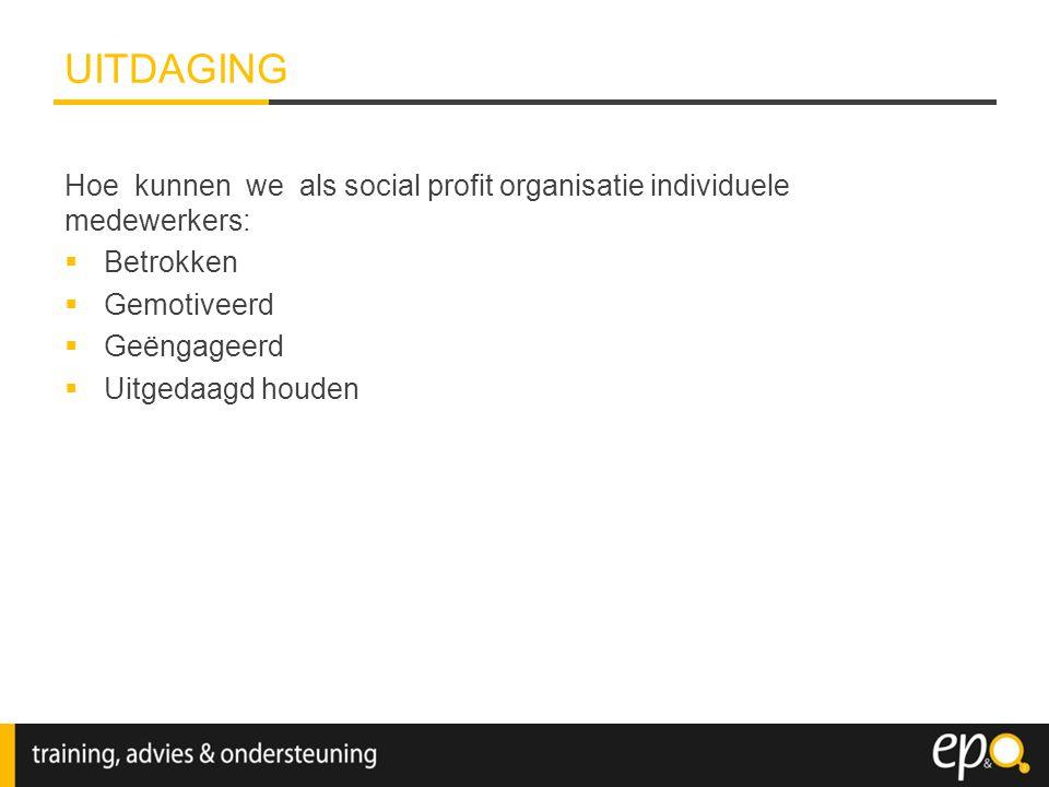 Hoe kunnen we als social profit organisatie individuele medewerkers:  Betrokken  Gemotiveerd  Geëngageerd  Uitgedaagd houden UITDAGING