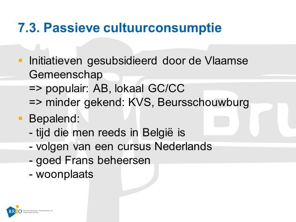 7.3. Passieve cultuurconsumptie  Initiatieven gesubsidieerd door de Vlaamse Gemeenschap => populair: AB, lokaal GC/CC => minder gekend: KVS, Beurssch