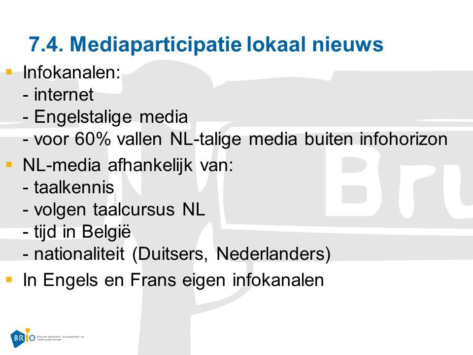 7.4. Mediaparticipatie lokaal nieuws  Infokanalen: - internet - Engelstalige media - voor 60% vallen NL-talige media buiten infohorizon  NL-media af