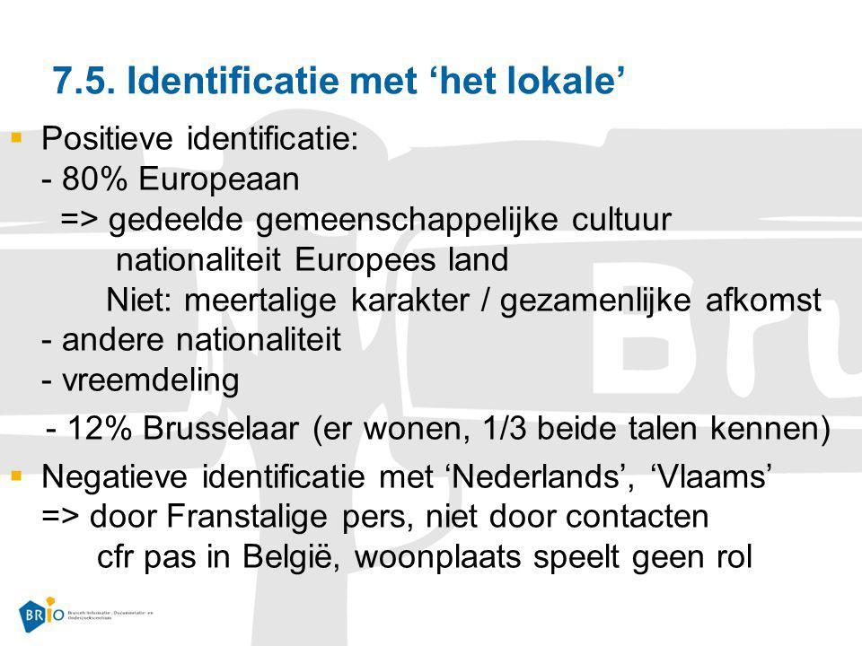7.5. Identificatie met 'het lokale'  Positieve identificatie: - 80% Europeaan => gedeelde gemeenschappelijke cultuur nationaliteit Europees land Niet