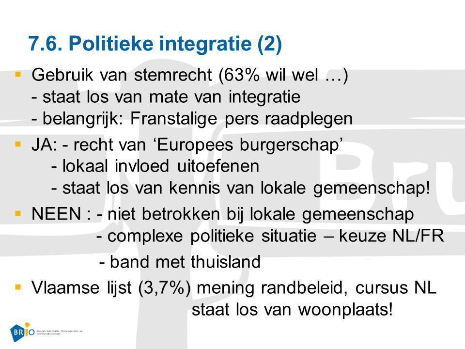 7.6. Politieke integratie (2)  Gebruik van stemrecht (63% wil wel …) - staat los van mate van integratie - belangrijk: Franstalige pers raadplegen 