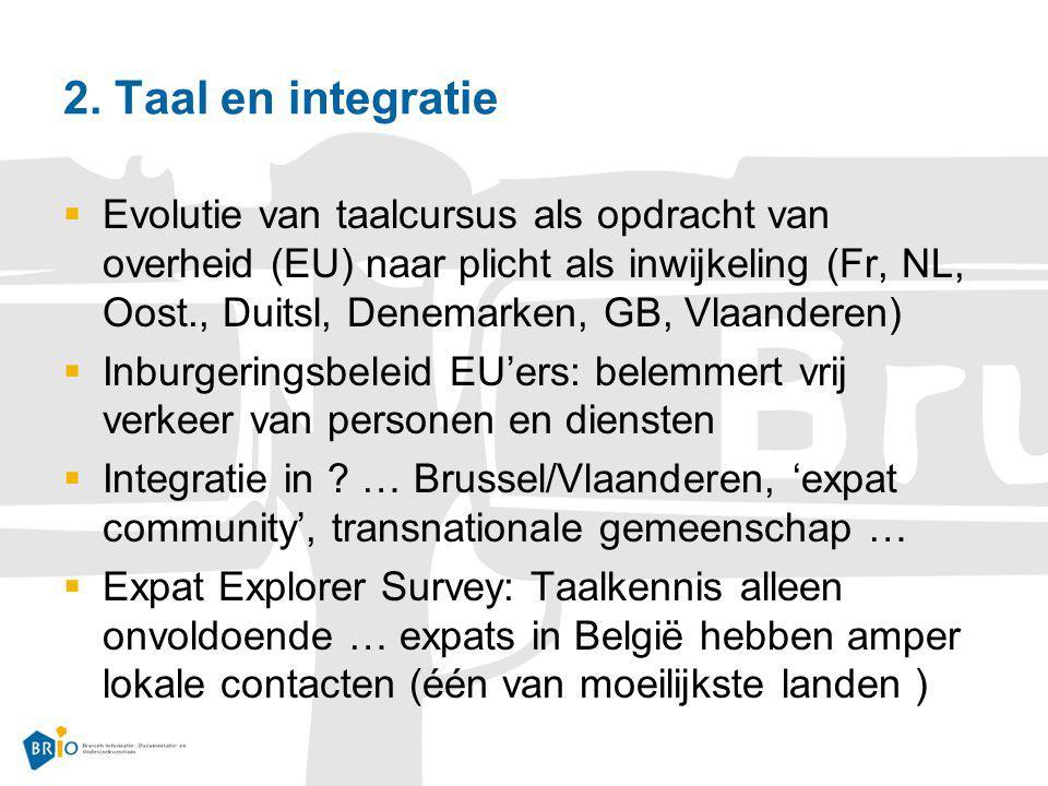 2. Taal en integratie  Evolutie van taalcursus als opdracht van overheid (EU) naar plicht als inwijkeling (Fr, NL, Oost., Duitsl, Denemarken, GB, Vla