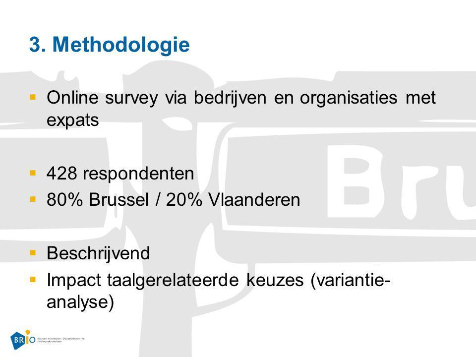 3. Methodologie  Online survey via bedrijven en organisaties met expats  428 respondenten  80% Brussel / 20% Vlaanderen  Beschrijvend  Impact taa