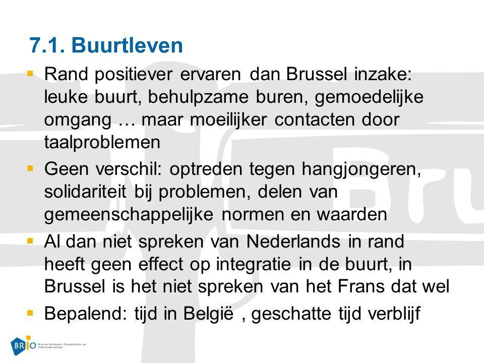 7.1. Buurtleven  Rand positiever ervaren dan Brussel inzake: leuke buurt, behulpzame buren, gemoedelijke omgang … maar moeilijker contacten door taal