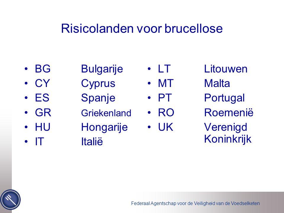 Federaal Agentschap voor de Veiligheid van de Voedselketen Risicolanden voor brucellose •BG Bulgarije •CY Cyprus •ES Spanje •GR Griekenland •HU Hongar