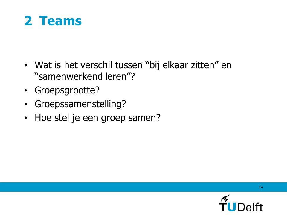2 Teams • Wat is het verschil tussen bij elkaar zitten en samenwerkend leren .
