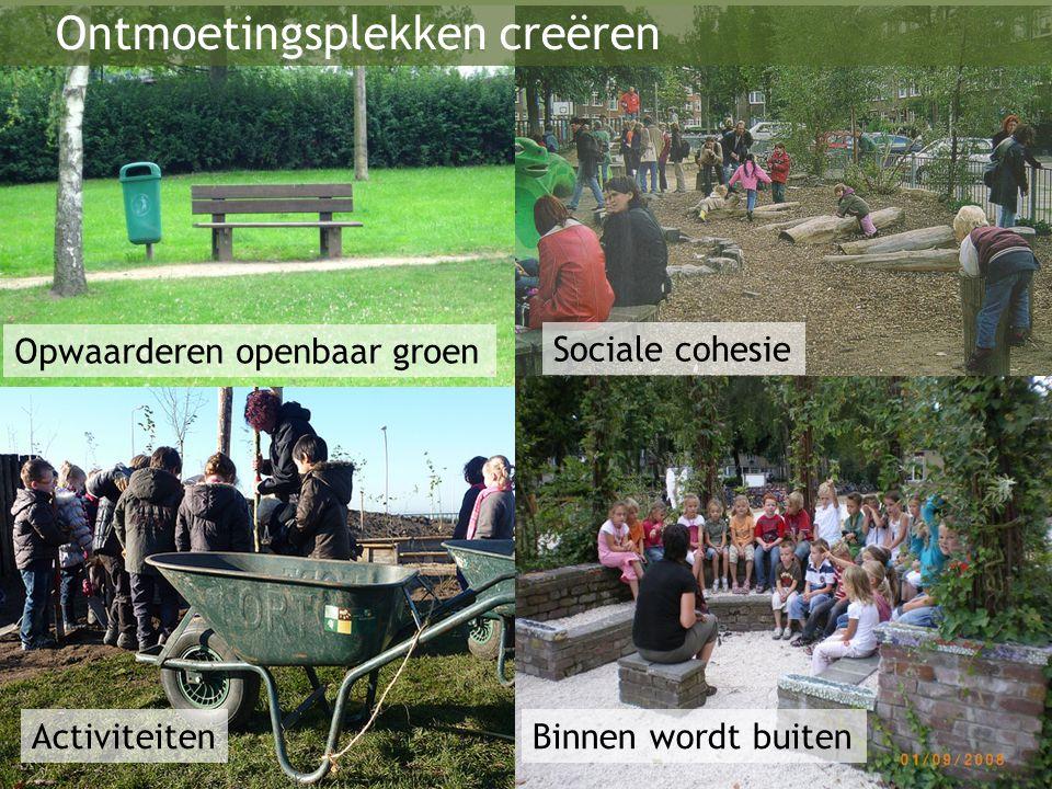 Opwaarderen openbaar groen Activiteiten Sociale cohesie Binnen wordt buiten Ontmoetingsplekken creëren