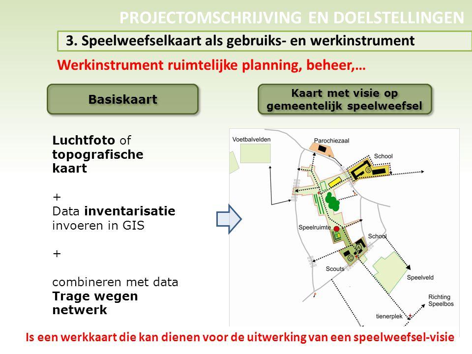 PROJECTOMSCHRIJVING EN DOELSTELLINGEN 3. Speelweefselkaart als gebruiks- en werkinstrument Werkinstrument ruimtelijke planning, beheer,… Basiskaart Ka
