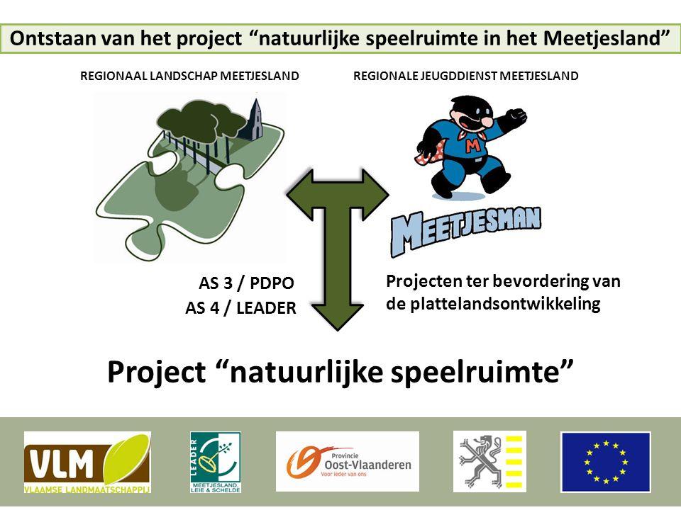 """Ontstaan van het project """"natuurlijke speelruimte in het Meetjesland"""" AS 4 / LEADER AS 3 / PDPO Project """"natuurlijke speelruimte"""" REGIONAAL LANDSCHAP"""