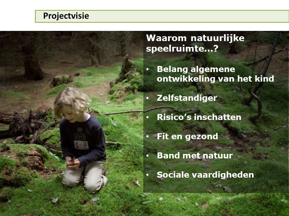 Projectvisie Waarom natuurlijke speelruimte…? • Belang algemene ontwikkeling van het kind • Zelfstandiger • Risico's inschatten • Fit en gezond • Band