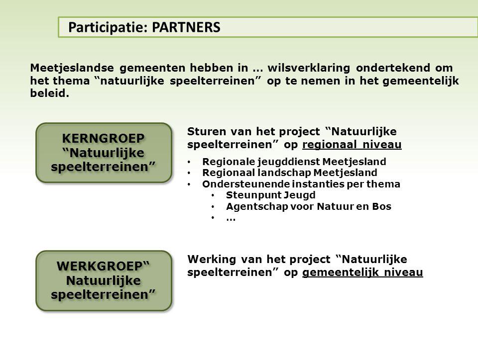 """KERNGROEP """"Natuurlijke speelterreinen"""" Participatie: PARTNERS Sturen van het project """"Natuurlijke speelterreinen"""" op regionaal niveau • Regionale jeug"""