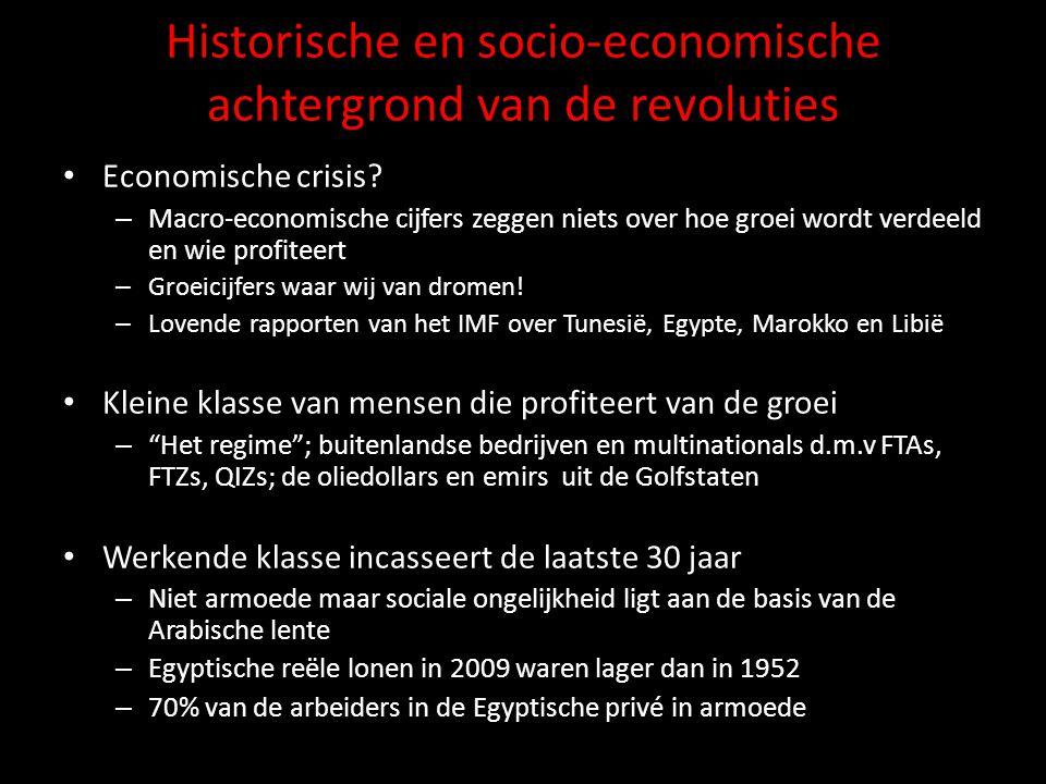 Van ontwikkelingsmodel naar neoliberaal model • 1950-1970: ontwikkelingsstaat; Arabisch socialisme  rentenierstaat (middenklasse als sociale basis) • onderwijs, publieke sector, publieke diensten, subsidies, enz.