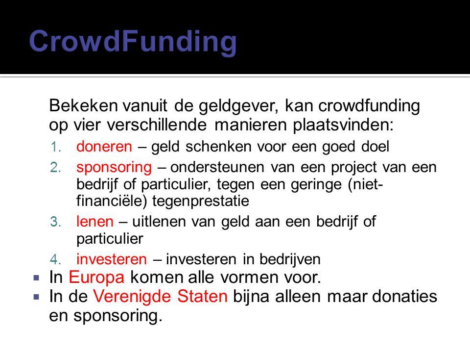 Bekeken vanuit de geldgever, kan crowdfunding op vier verschillende manieren plaatsvinden: 1. doneren – geld schenken voor een goed doel 2. sponsoring
