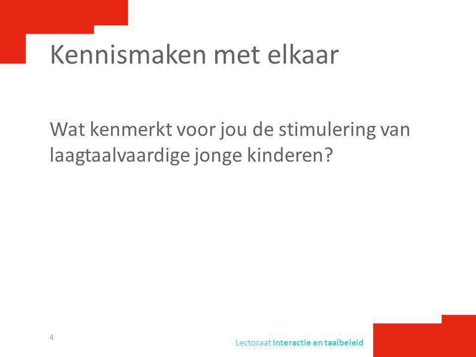 Lectoraat Interactie en taalbeleid Workshop 1Ervaren: wat doet interactie met je.