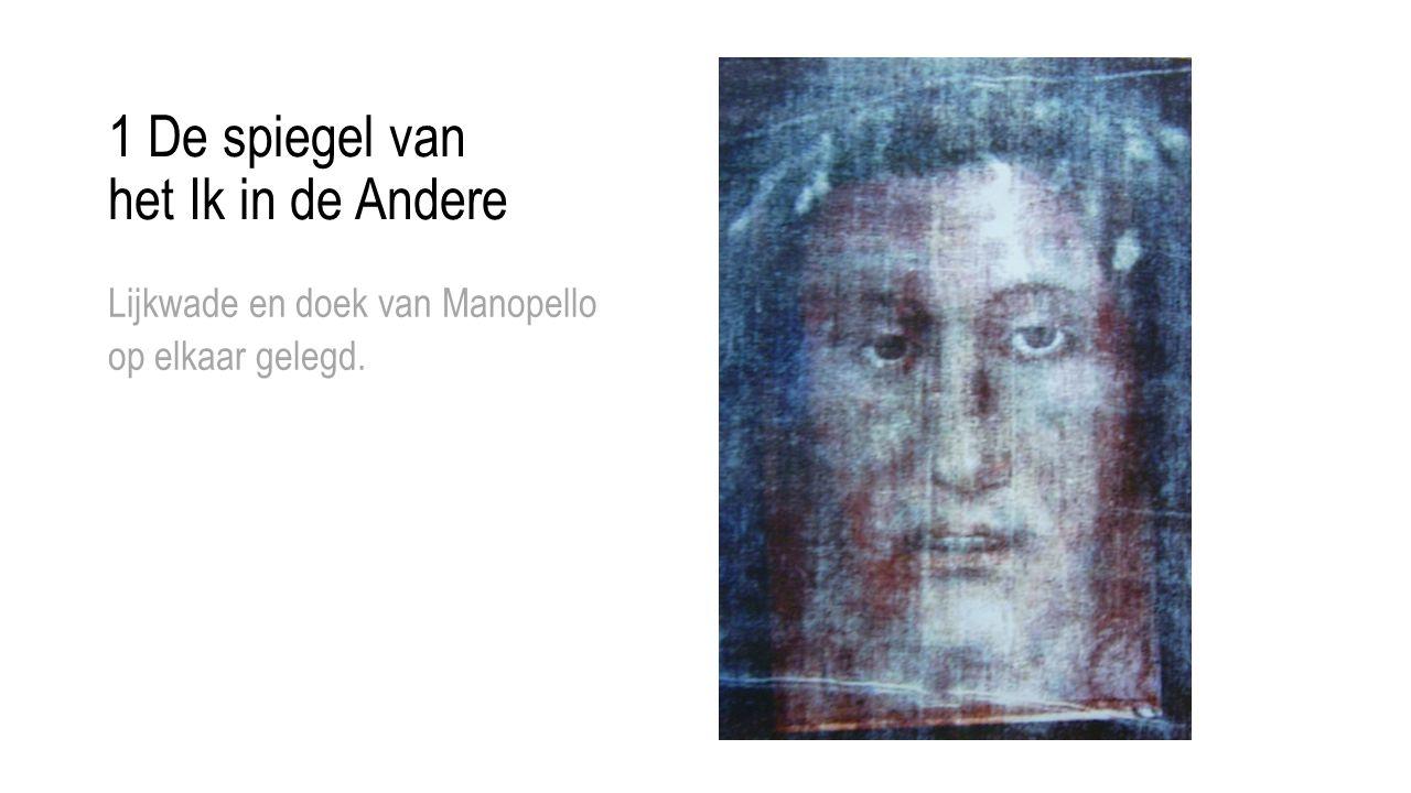 1 De spiegel van het Ik in de Andere Lijkwade en doek van Manopello op elkaar gelegd.