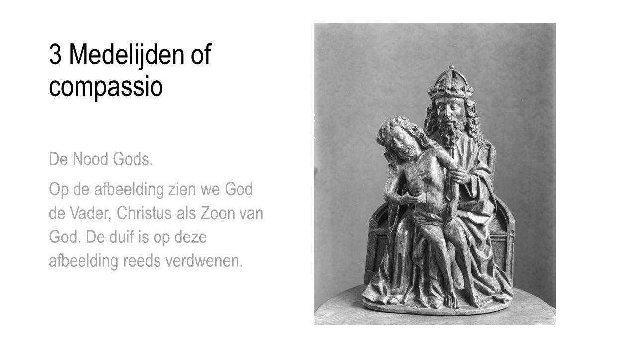 3 Medelijden of compassio De Nood Gods. Op de afbeelding zien we God de Vader, Christus als Zoon van God. De duif is op deze afbeelding reeds verdwene