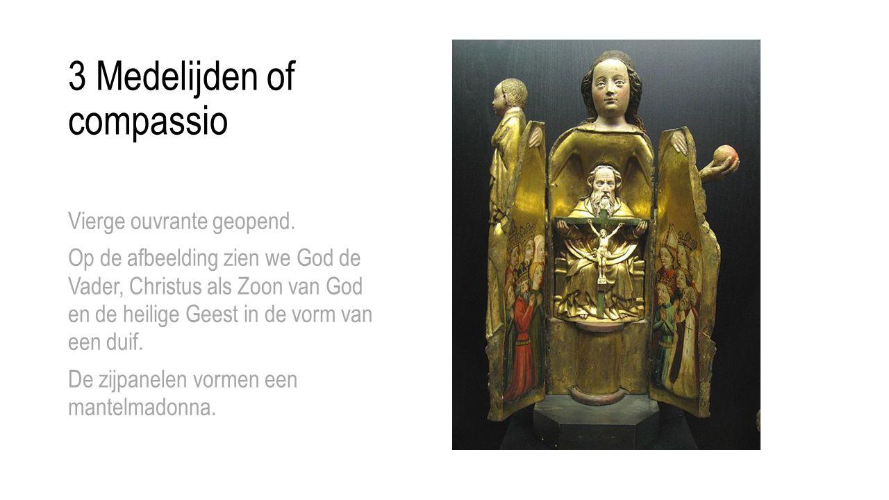 3 Medelijden of compassio Vierge ouvrante geopend. Op de afbeelding zien we God de Vader, Christus als Zoon van God en de heilige Geest in de vorm van