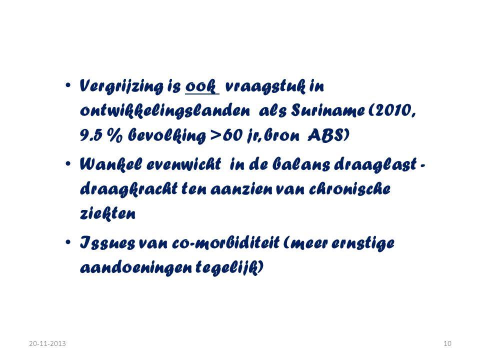 Background • Vergrijzing is ook vraagstuk in ontwikkelingslanden als Suriname (2010, 9.5 % bevolking >60 jr, bron ABS) • Wankel evenwicht in de balans draaglast - draagkracht ten aanzien van chronische ziekten • Issues van co-morbiditeit (meer ernstige aandoeningen tegelijk) 20-11-201310