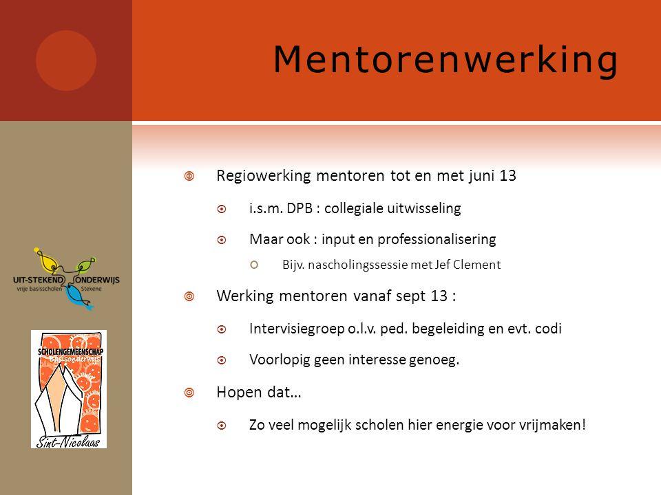 Mentorenwerking  Regiowerking mentoren tot en met juni 13  i.s.m.