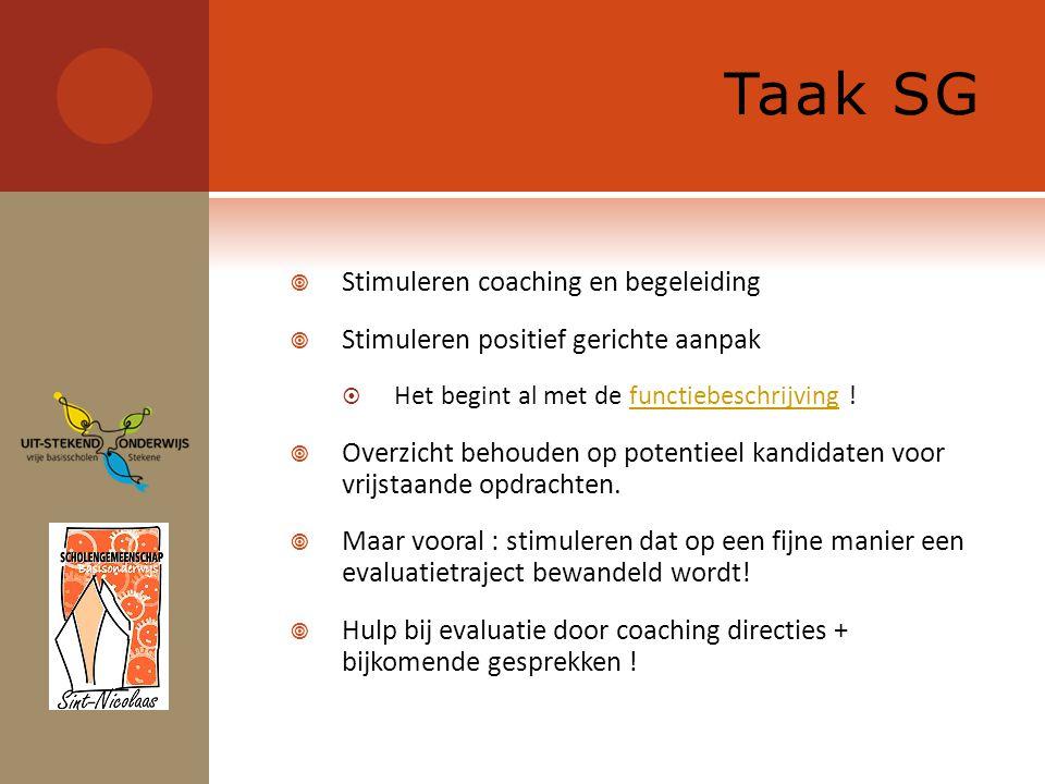 Taak SG  Stimuleren coaching en begeleiding  Stimuleren positief gerichte aanpak  Het begint al met de functiebeschrijving !functiebeschrijving  Overzicht behouden op potentieel kandidaten voor vrijstaande opdrachten.
