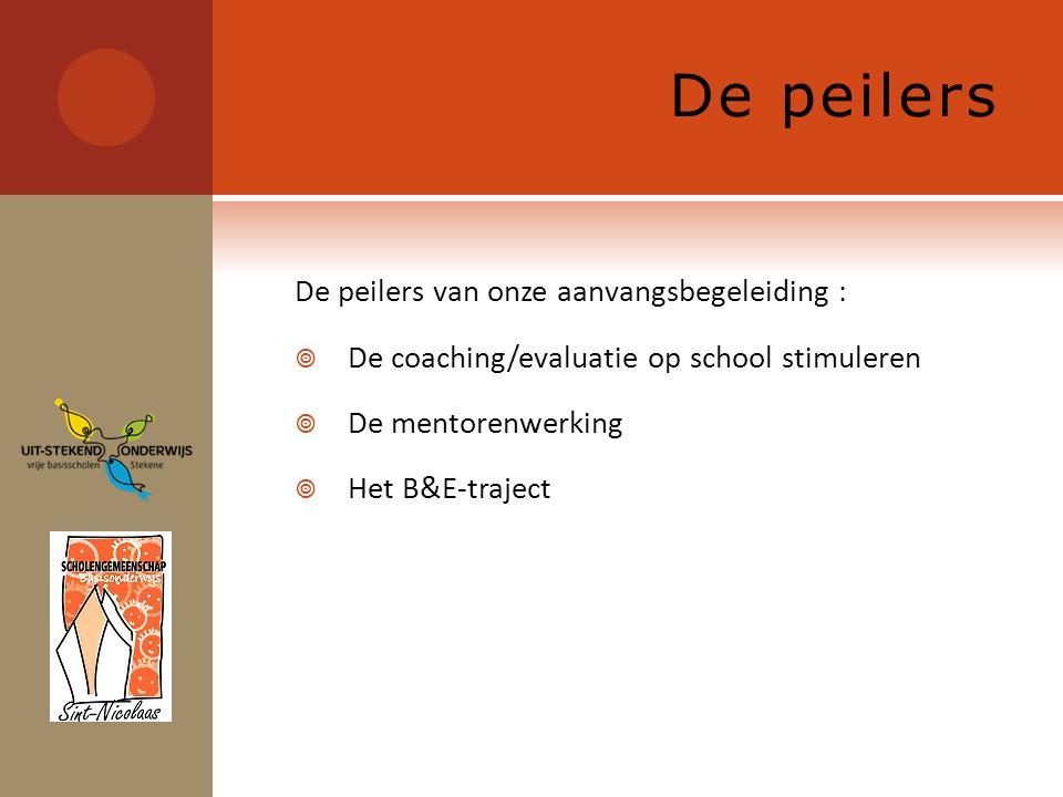 De peilers De peilers van onze aanvangsbegeleiding :  De coaching/evaluatie op school stimuleren  De mentorenwerking  Het B&E-traject