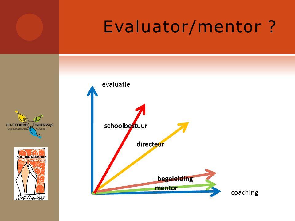 Evaluatieafspraken  Wat de SG extra meeneemt in de evaluatie :  Klasbezoeken  Deelname aan het B&E (tot op zekere hoogte)