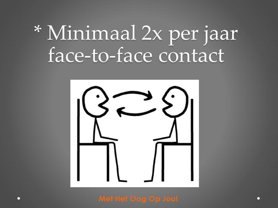 * Minimaal 2x per jaar face-to-face contact Met Het Oog Op Jou!