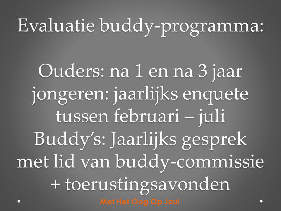 Evaluatie buddy-programma: Ouders: na 1 en na 3 jaar jongeren: jaarlijks enquete tussen februari – juli Buddy's: Jaarlijks gesprek met lid van buddy-c