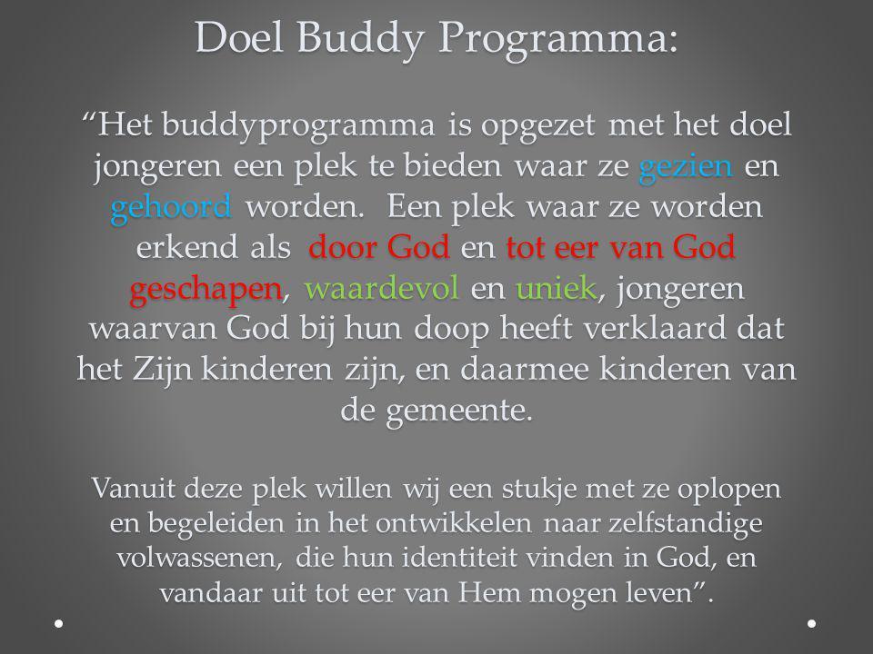 """Doel Buddy Programma: """"Het buddyprogramma is opgezet met het doel jongeren een plek te bieden waar ze gezien en gehoord worden. Een plek waar ze worde"""