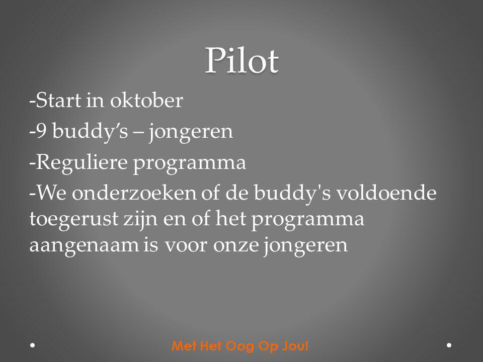 Pilot -Start in oktober -9 buddy's – jongeren -Reguliere programma -We onderzoeken of de buddy's voldoende toegerust zijn en of het programma aangenaa