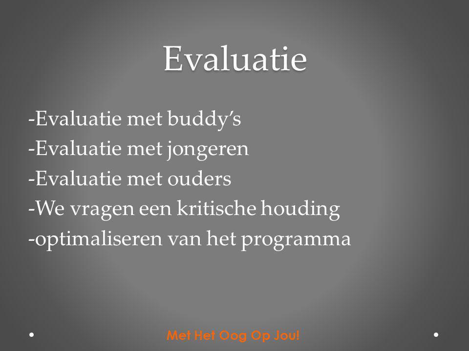 Evaluatie -Evaluatie met buddy's -Evaluatie met jongeren -Evaluatie met ouders -We vragen een kritische houding -optimaliseren van het programma Met H