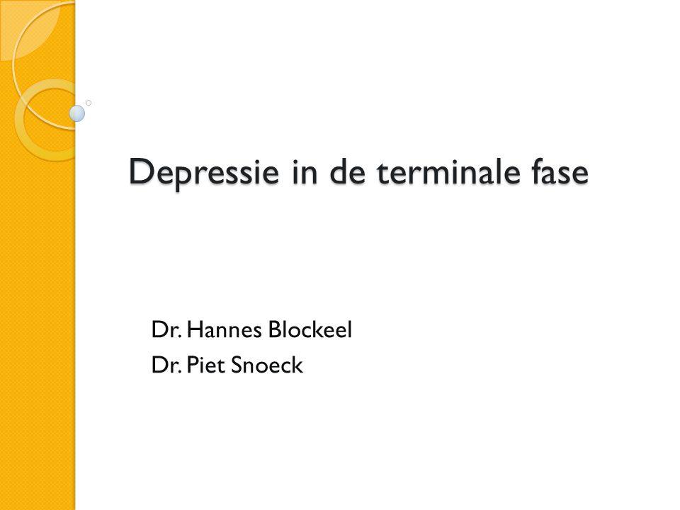 Depressie in de terminale fase Dr. Hannes Blockeel Dr. Piet Snoeck