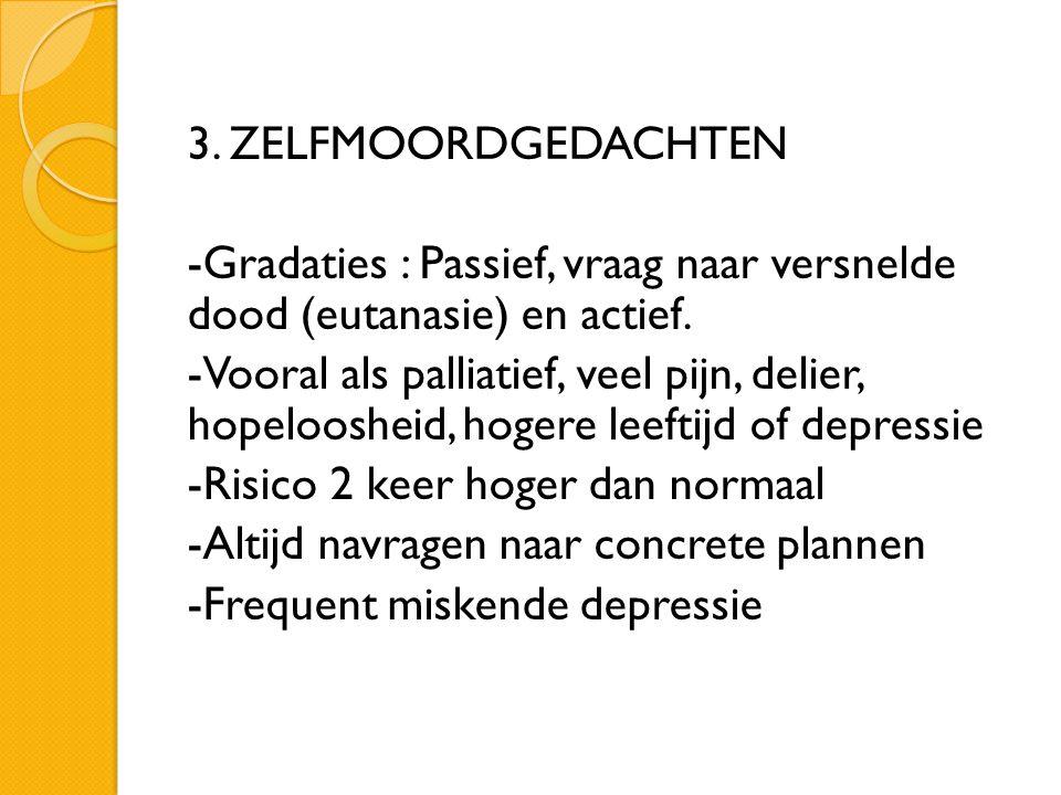 3. ZELFMOORDGEDACHTEN -Gradaties : Passief, vraag naar versnelde dood (eutanasie) en actief. -Vooral als palliatief, veel pijn, delier, hopeloosheid,