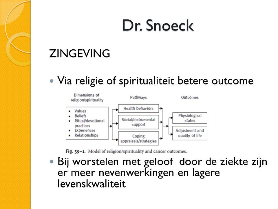 Dr. Snoeck ZINGEVING  Via religie of spiritualiteit betere outcome  Bij worstelen met geloof door de ziekte zijn er meer nevenwerkingen en lagere le