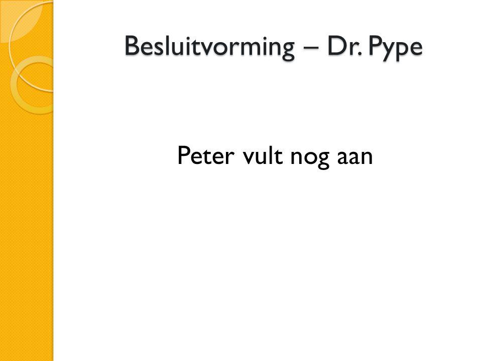 Besluitvorming – Dr. Pype Peter vult nog aan