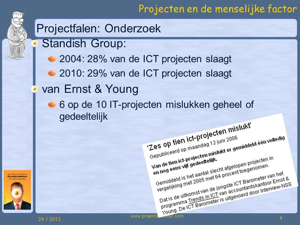 Projecten en de menselijke factor 24 1 2013 4 www.projectsaboteur.com Projectfalen: Onderzoek Standish Group: 2004: 28% van de ICT projecten slaagt 2010: 29% van de ICT projecten slaagt van Ernst & Young 6 op de 10 IT-projecten mislukken geheel of gedeeltelijk