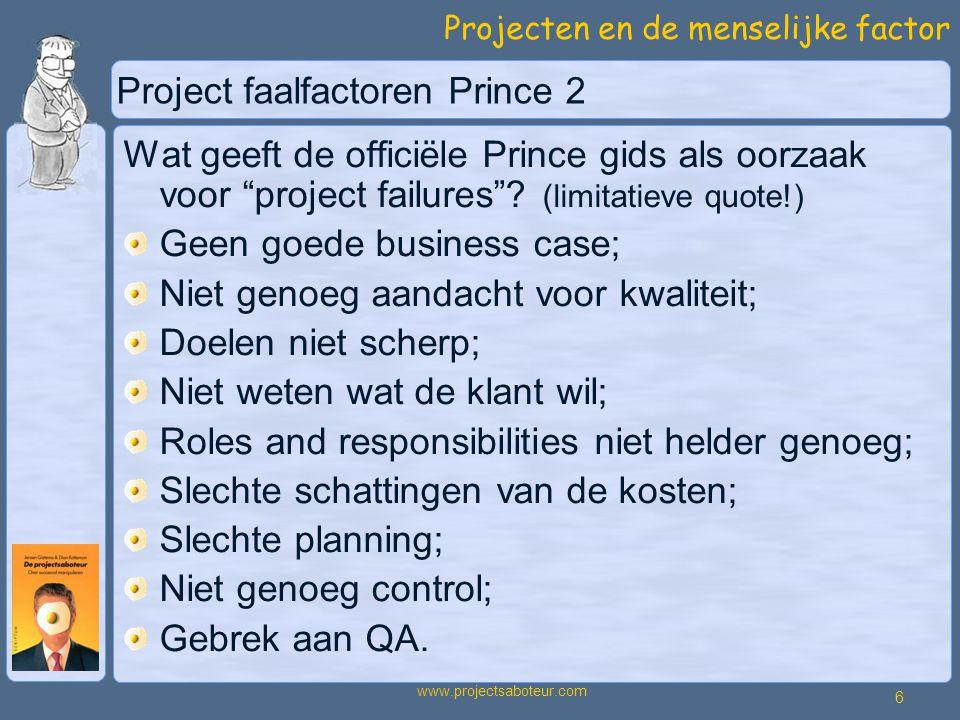 Projecten en de menselijke factor 6 www.projectsaboteur.com Project faalfactoren Prince 2 Wat geeft de officiële Prince gids als oorzaak voor project failures .