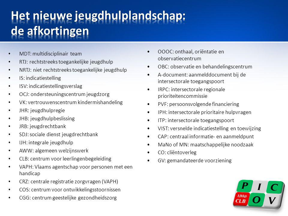 • MDT: multidisciplinair team • RTJ: rechtstreeks toegankelijke jeugdhulp • NRTJ: niet rechtstreeks toegankelijke jeugdhulp • IS: indicatiestelling •