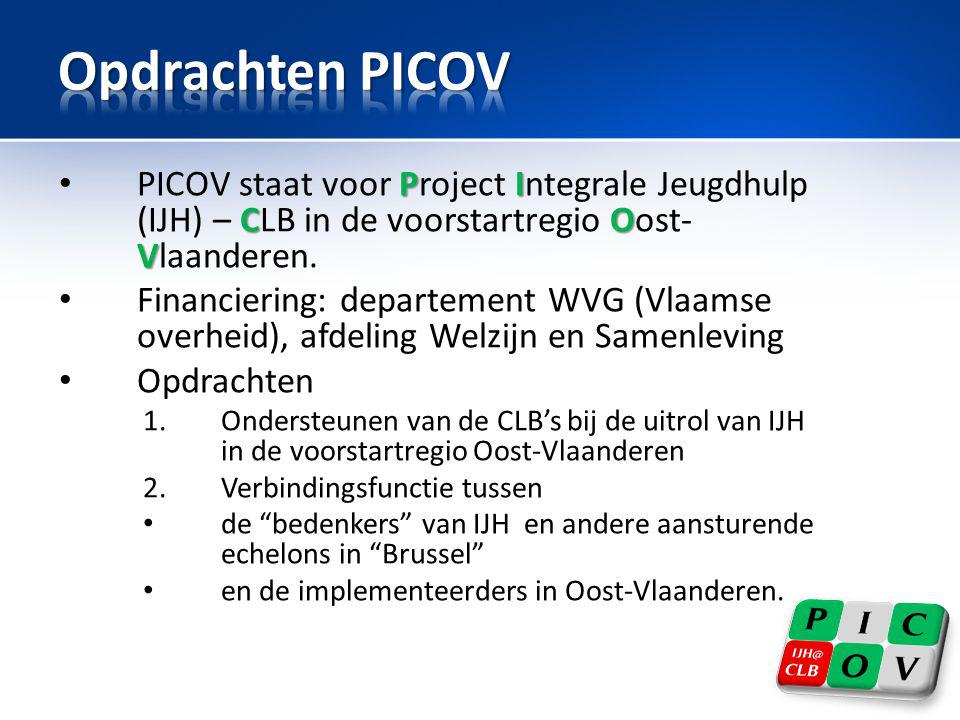 PI CO V • PICOV staat voor Project Integrale Jeugdhulp (IJH) – CLB in de voorstartregio Oost- Vlaanderen. • Financiering: departement WVG (Vlaamse ove