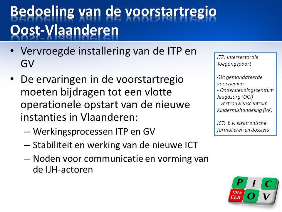 • Vervroegde installering van de ITP en GV • De ervaringen in de voorstartregio moeten bijdragen tot een vlotte operationele opstart van de nieuwe ins
