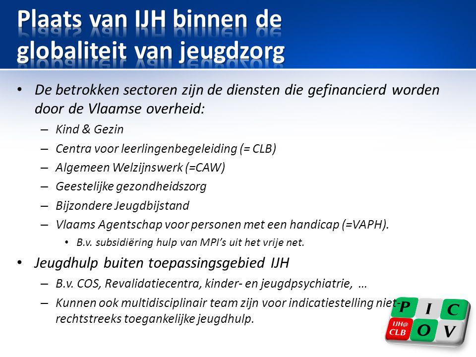 • De betrokken sectoren zijn de diensten die gefinancierd worden door de Vlaamse overheid: – Kind & Gezin – Centra voor leerlingenbegeleiding (= CLB)