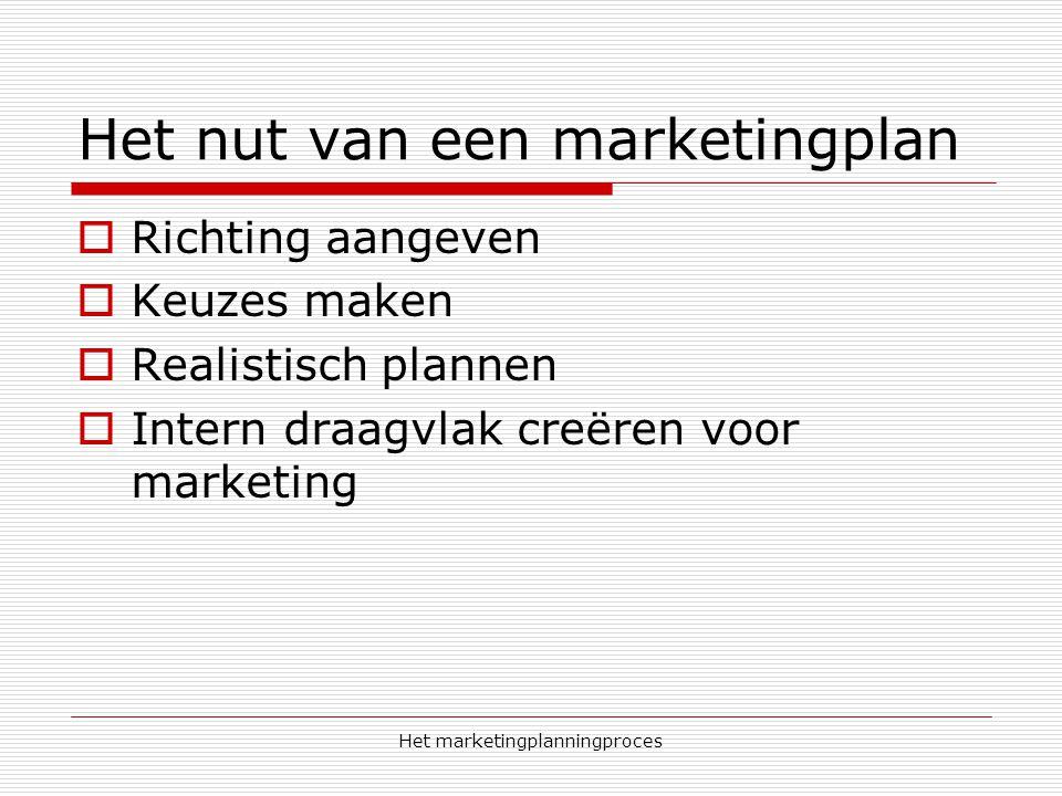 Het marketingplanningproces Het nut van een marketingplan  Richting aangeven  Keuzes maken  Realistisch plannen  Intern draagvlak creëren voor mar