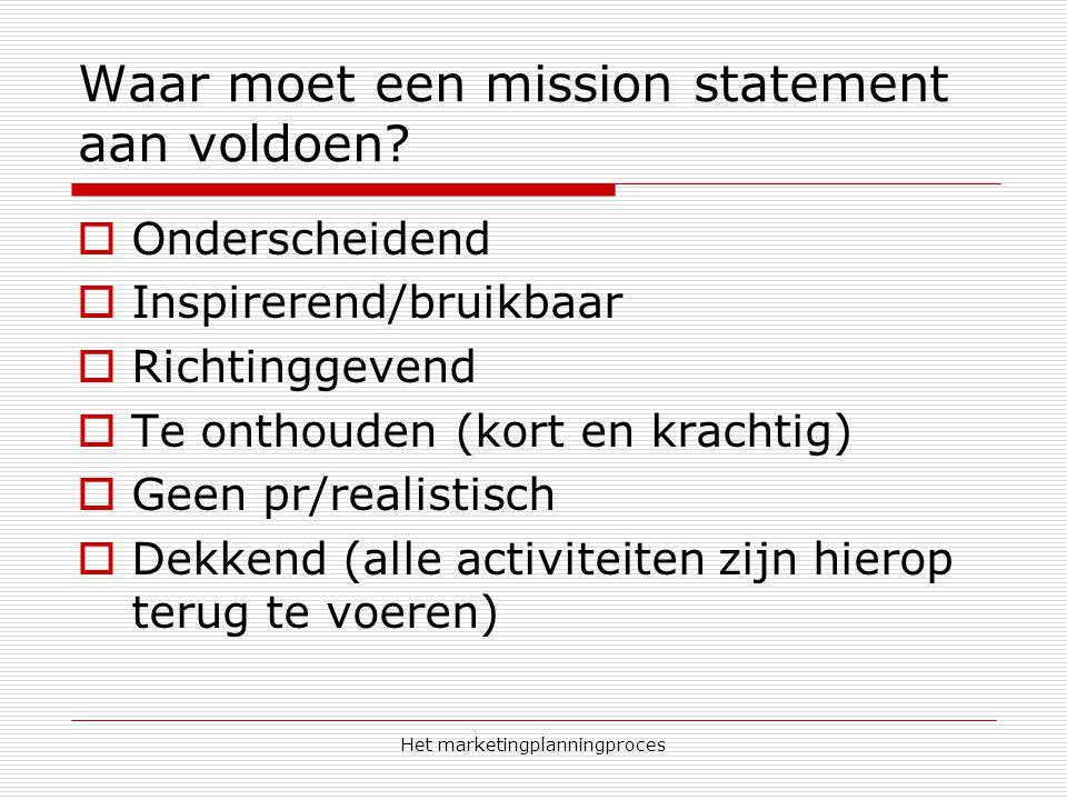 Het marketingplanningproces Waar moet een mission statement aan voldoen?  Onderscheidend  Inspirerend/bruikbaar  Richtinggevend  Te onthouden (kor