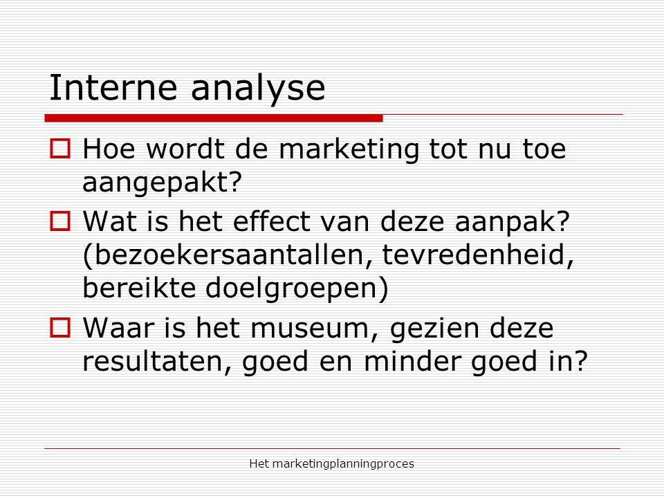 Het marketingplanningproces Interne analyse  Hoe wordt de marketing tot nu toe aangepakt?  Wat is het effect van deze aanpak? (bezoekersaantallen, t