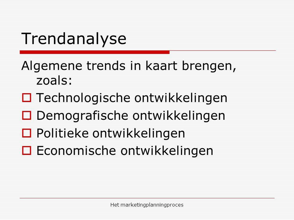 Het marketingplanningproces Trendanalyse Algemene trends in kaart brengen, zoals:  Technologische ontwikkelingen  Demografische ontwikkelingen  Politieke ontwikkelingen  Economische ontwikkelingen