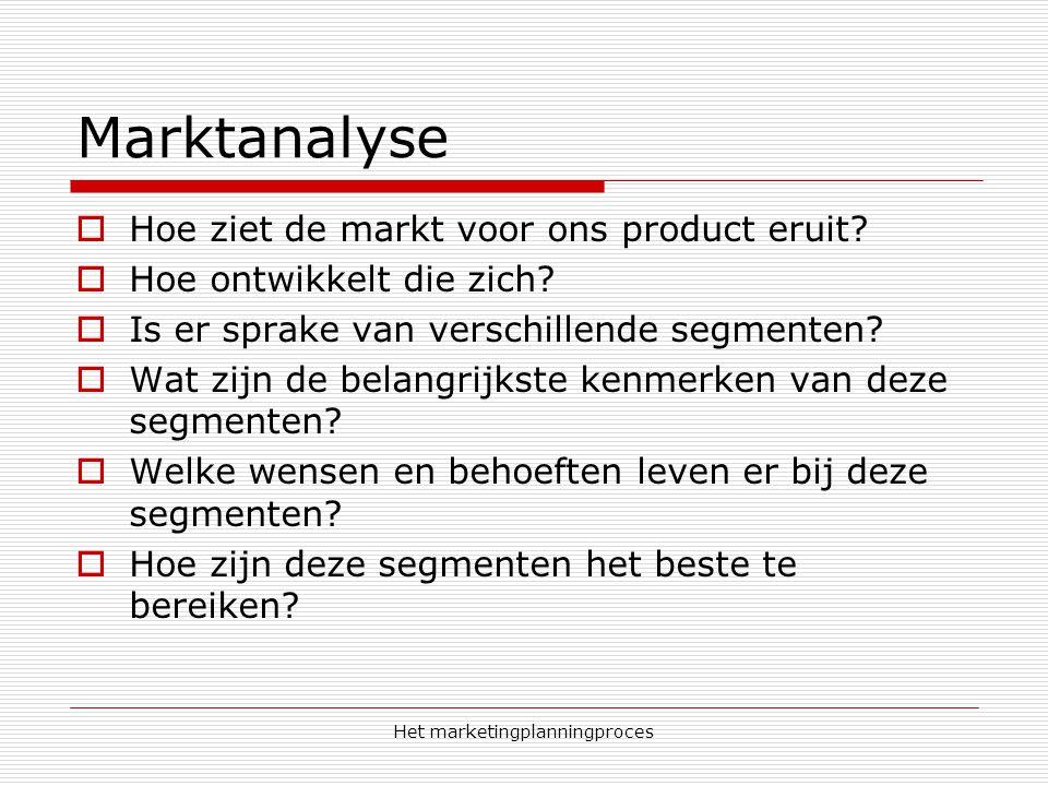 Het marketingplanningproces Marktanalyse  Hoe ziet de markt voor ons product eruit?  Hoe ontwikkelt die zich?  Is er sprake van verschillende segme