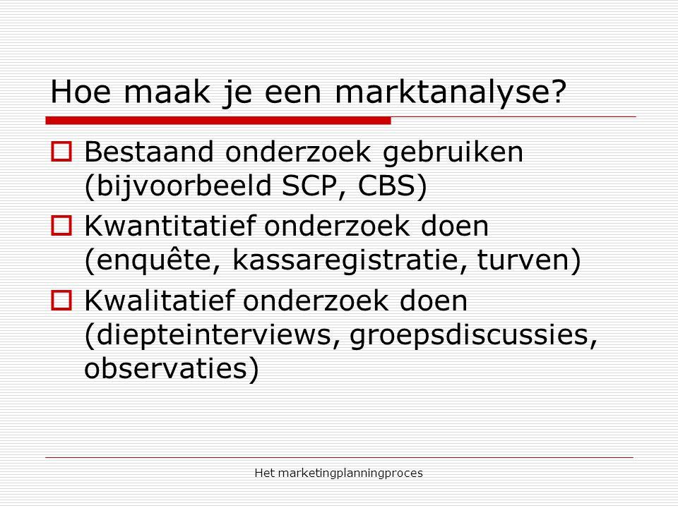 Het marketingplanningproces Hoe maak je een marktanalyse?  Bestaand onderzoek gebruiken (bijvoorbeeld SCP, CBS)  Kwantitatief onderzoek doen (enquêt